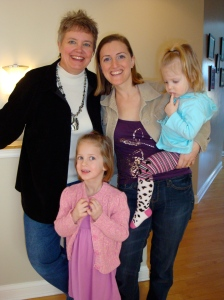 Becky Hoover Vickery and I (and her two girls) at Jenni and Todd's last winter.