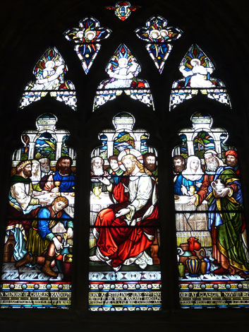 From the Church of the Holy Rude (Scotland). Stained glass window showing the first miracle at the wedding feast at Canaan; Jesus turned water into wine. Crafted by brothers J and W Keir from Glasgow in 1878.