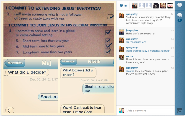 One student used Instagram to share the conversation she had with her parents back home on decision night.