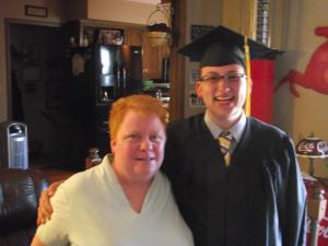 This is Marti with her nephew Jonathan as he graduated from U of Nebraska's pharmacy program.