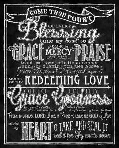 """Art: """"Come Thou Fount"""" Hymn chalkboard style by TO SUCH AS THESE"""